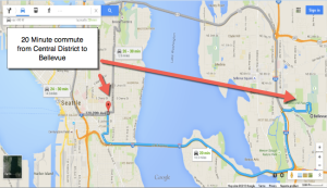 Google Maps, Central District to Bellevue