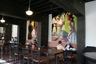revised Stage Door Cafe and Lobby with murals by BHeard Studio